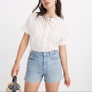 Madewell White Eyelet Boxy Button-Down Shirt